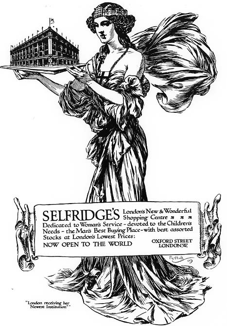 A newspaper advertisement from Selfridges opening in 1909