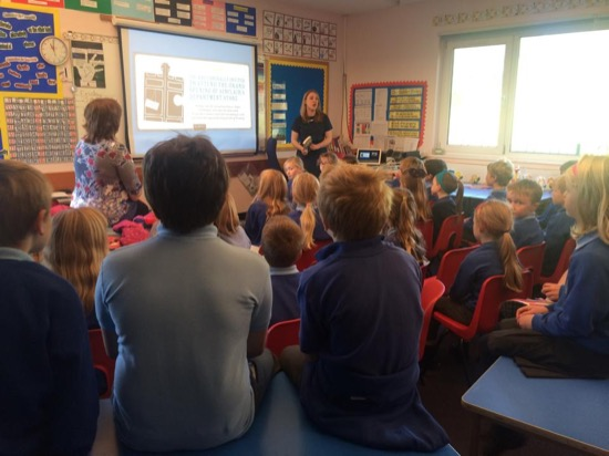 Talking to Years 3 & 4 at Arbory Road School - photo by Manx Lit Fest