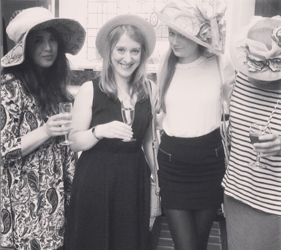 Hats a-go-go with Melissa, Katie and Louise at the Clockwork Sparrow launch