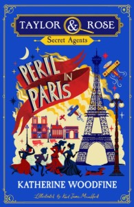 Book cover showing Eiffel Tower, aeroplane and running figures