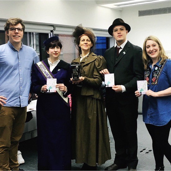 With actors dressed as Sylvia Pankhurst and Christina Broom